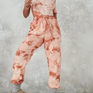 Misguided Tall Brown Tie Dye Oversized Joggers